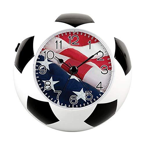 (GIRLSIGHT2 Alarm Clock for Decoration, Football Soccer Clock&Fun Silent Quartz Analog Non-Ticking Bedside Alarm Clock-129.Hamilton & Adams 1776 American Flag)