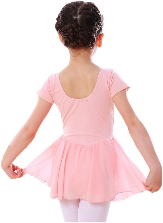 LeerKing Filles en Mousseline de Soie Jupon Ballet Justaucorps /à Manches Courtes Coton Gymnastique Tutu Robe pour b/éb/é Petites Grandes Filles