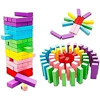 لعبة مكعبات جينغا الخشبية بالوان قوس قزح للاطفال