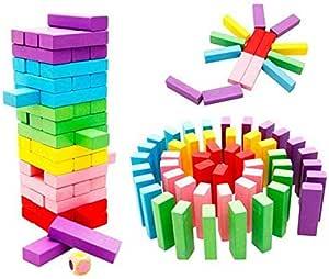 Wooden Rainbow Jenga Blocks Domino Educational Toy Gift For Children