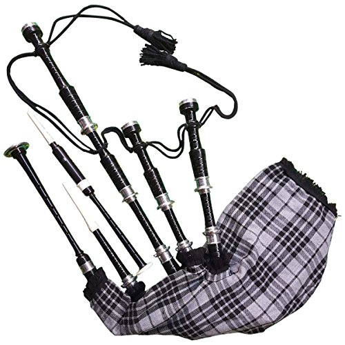 - Great Highland Bagpipe Silver Mounts Polished Black Rosewood Gray Watch Cover FREE TUTOR BOOK