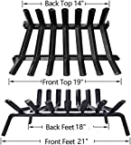 """Amagabeli Black Wrought Iron Fireplace Log Grate 21 inch Wide Heavy Duty Solid Steel Indoor Chimney Hearth 3/4"""" Bar Fire Grates for Outdoor Kindling Tools Pit Wood Stove Firewood Burning Rack Holder"""
