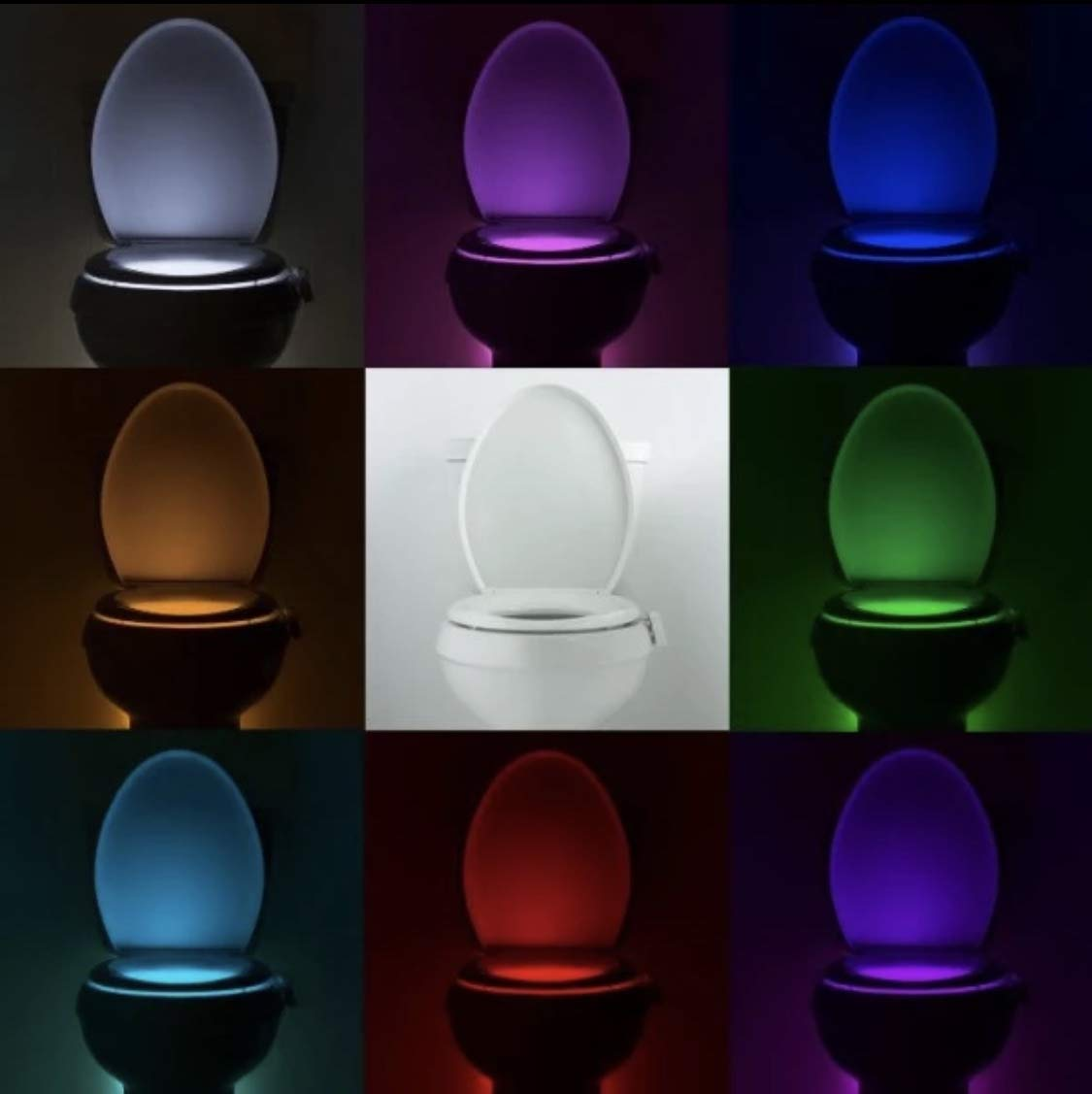 Toilet Night Light Motion Activated LED Light 8 Colors Changing Toilet Bowl Nightlight for Bathroom Battery Not Included
