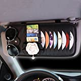 #10: INEBIZ Luxury Car Charm Beautiful Camellia Leather Car Sun Visor 8-Pockets CD&DVD Organizer with Glasses and Pen Holder