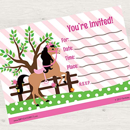 Birthday Direct Playful Pony Party Fill in Invitations 16 Count with Envelopes - 16 Pack Pink Pony Party Invites for Girls Birthday, Baby Shower, Sleepover