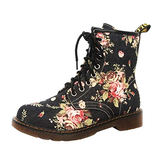 Duseedik Martin Boots, Women Ladies Combat Boot Soft Flat Ankle Floral Print Martin Shoes Female Lace-Up Boots