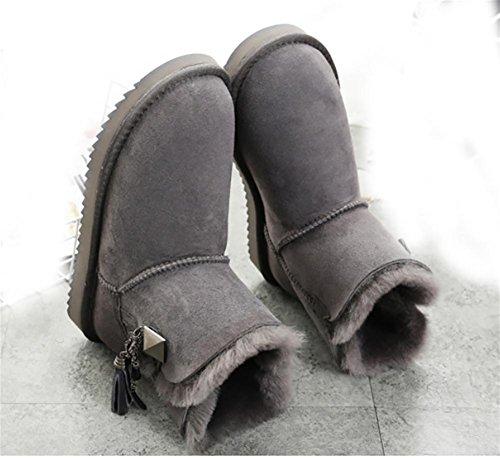 Damen warme Winter gepolstert Mini Schaffell Stiefel(Eine Größe zu klein) , 3 , 39