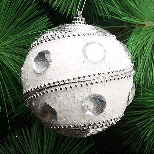 Christmas Ball Ornaments Decoration Christmas Rhinestone Glitter Baubles Balls Xmas Tree Ornament Decoration Holiday Wedding Party Decoration (8cm in Diameter) (White) by TLT Retail (Image #1)
