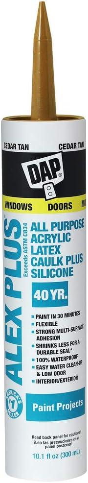 DAP, Cedar Tan 18122 Acrylic Latex Caulk with Silicone, 10.1-Ounce