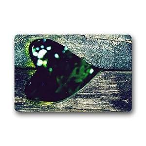 """Personalizado moda Evergreen amor forma de corazón madera lavable Durable felpudo personalizado puerta Pad alfombra 30""""(L) X 18(W) (gran tamaño)"""
