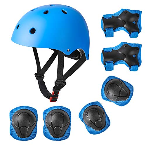 - Sanlinkee Sports Protective Gear Set,for Kids Rollerblade Roller Skates Cycling Skateboard Inline Skatings Scooter Riding Sports Wrist Guards Toddler for Multi-Sports Outdoor (Blue, Below 88 lb)