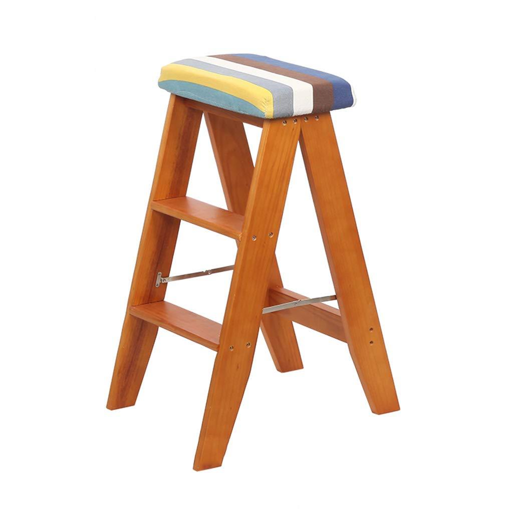 脚立3段折りたたみ脚/はしご椅子スツール、木製の階段椅子スポンジシートダイニングチェアワイドハイスツールホームガーデンツールヘビーデューティマックス。クルミで150kg B07MR217RZ #5