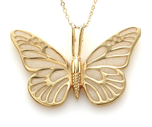 Gold Plated Sterling Silver Butterfly Necklace Pendant Handmade White Polymer Clay, 16.5