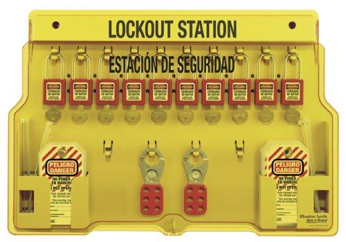 Master Lock Spanish/English 10-Padlock Capacity Lockout Station with Cover, Includes 10 Zenex ()