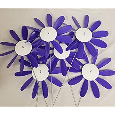 """Domestic Violence,Beloit Plastics 12"""" Dia. Spinning Daisy (6 Pack) – 24"""" Tall Pinwheel & Wind Spinner for Garden,Lawn,Patio – Vibrations May Irritate Moles - Front & Back Yard Decoration – USA Made: Garden & Outdoor"""