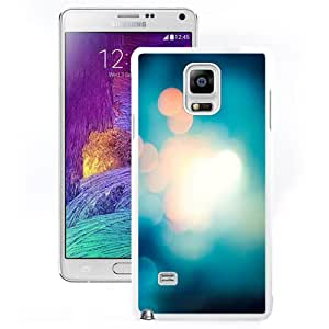 Durable Phone Case Soft Blue Light Bokeh Blur Galaxy Note 4 Wallpaper in White