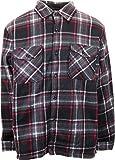 Woodland Supply Co. Men's Heavy Warm Fleece Sherpa Lined Zip Up Buffalo Plaid Jacket,X-Large,Black/Red
