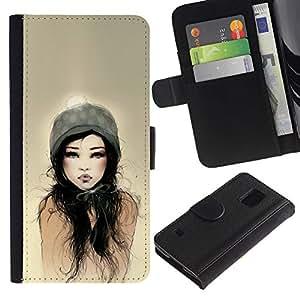 A-type (Dad Woman Sun Watercolor) Colorida Impresión Funda Cuero Monedero Caja Bolsa Cubierta Caja Piel Card Slots Para Samsung Galaxy S5 V SM-G900