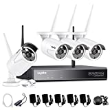 SANNCE 4CH 720P HD NVR Wireless Security CCTV Surveillance Systems(WIFI NVR Kits)-4X1.0MP Wireless WIFI Indoor Outdoor IP Cameras,P2P,100FT Night Vision, Custom Motion Detect,NO Hard Drive