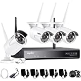 SANNCE 4Channel 720P HD NVR Wireless Security CCTV Surveillance Systems(WIFI NVR Kits)-4X1.0MP Wireless WIFI Indoor Outdoor IP Cameras,P2P,100FT Night Vision, Custom Motion Detect,NO Hard Drive