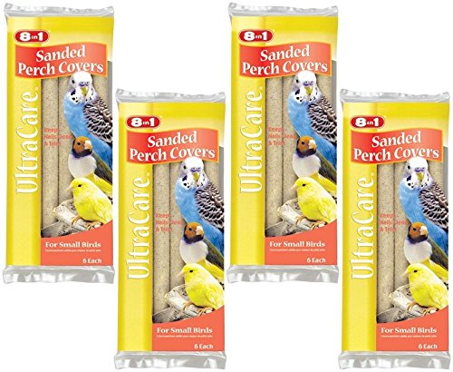 (8 in 1 Pet Products Sanded Bird Perches Covers, Small - 24 Total(4 Packs with 6 per Pack))