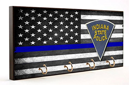 Thin Blue Line Indiana State Police Key Hanger