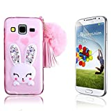 Samsung Galaxy Grand Prime LTE G530 Case, Bonice Crystal Clear Soft TPU Cartoon Rabbit Bling Diamond Ear Case with Hairball Pompon Hand Strap for Samsung Galaxy Grand Prime + Screen Protector, Pink