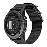 Digit.Tail Sport NATO Nylon Replacement Band Universal 26mm Watch Strap Bands Accessory with Spring Bars and Screw Tools for Garmin Fenix 3 / Fenix 3 HR, Fenix 5X Smartwatch (Black)