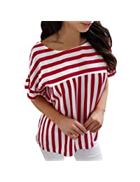kingfansion Ladies Womens Summer Casual Striped T Shirt Loose Tops Blouse Plus Size