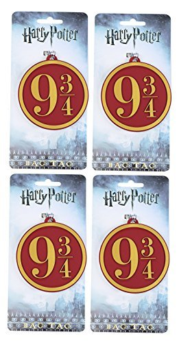 Pack of 4 - Harry Potter Hogwarts Express 9 3/4 Heavy PVC Luggage Bag Tags