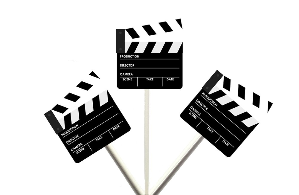 Movie CLAPPER Cupcake Toppers, Movie Party Cupcake Toppers