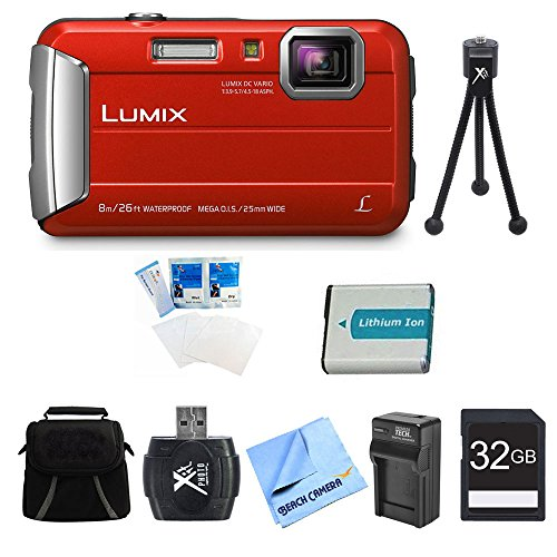 Panasonic LUMIX DMC-TS30 Active Tough Red Digital Camera 32GB Bundle - Includes Camera, 32GB Card, Compact Bag, Battery, Card Reader, Battery Charger, Mini Tripod, Screen Protectors, and Micro Fiber Cloth