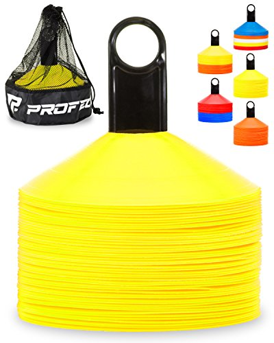 Pro Disc Cones (Set of 50) ? Agility Soccer Cones with Carry Bag and Holder for Training, Football, Kids, Sports, Field Cone Markers ? Includes Top 15 Drills eBook (Bright Yellow)