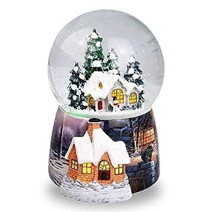 Fytoo Christmas Snow House Bola de Cristal, Caja de música, Spray automático Caja de