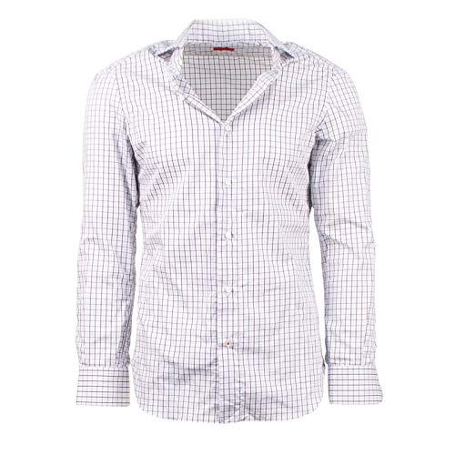 - Isaia Men's Plaid Long Sleeve Button Down Cotton Dress Shirt 36/14 White