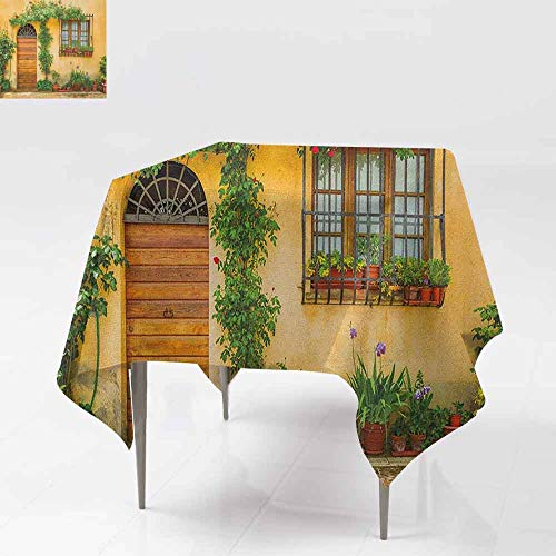 AndyTours Spill-Proof Table Cover,Italy,Porch with Different Flowers Pots Fresh Green Plants City Life in Tuscany,Dinner Picnic Table Cloth Home Decoration,60x60 Inch Apricot Green Brown