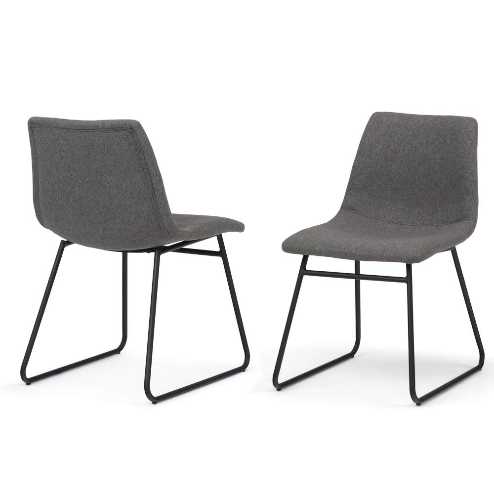 Simpli Home AXCRID-01GL Ridley Mid Century Modern Dining Chair (Set of 2) in Grey Linen Look Fabric