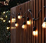 Bulbright S14 LED String Lights with 10 Sockets&Bulbs (34ft.) Waterproof Connectable Outdoor Garden Party Patio Bistro Market Cafe Hanging Umbrella Lamp UL-LISTED (S14 10 Sockets)