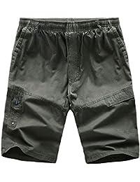 Men's Casual Elastic-Waist Loose Multi-Pocket Chino Cargo Work Shorts
