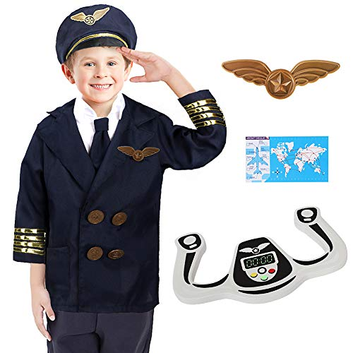 Dissytoys Pilot Costume Airline Role Play Dress up Set with Jacket Tie Hat Wings Steering Yoke Checklist for Toddlers Boys Girls 3-6 Years Blue]()
