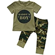 Arleysh Baby Daddy's Boy Girl Camouflage Short Sleeve T-Shirt Tops+ Long Pants Outfit Set (6-12 Months, Daddy's Boy)