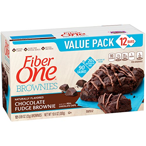 Fiber One Brownies, 90 Calorie Bar, Chocolate Fudge Brownie, 12 Fiber Bars, 10.6 oz (Value Pack)