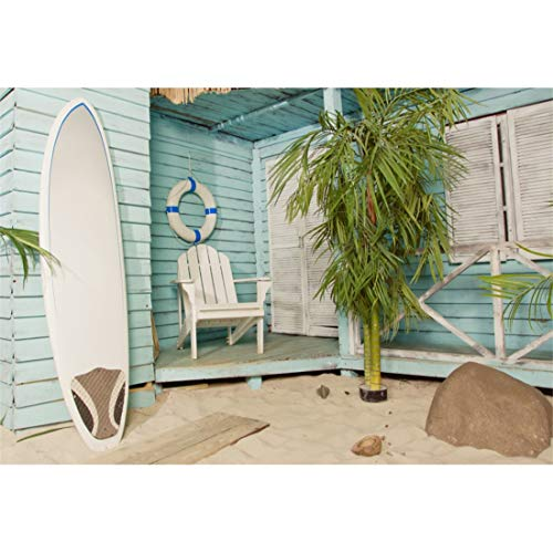 (Yeele 8x6ft Sandy Beach Bungalow Photography Background Bamboo Stone Surfboard Swimming Ring Coconut Shell Sunshine Summer Party Decoration Photo Backdrop Adults)