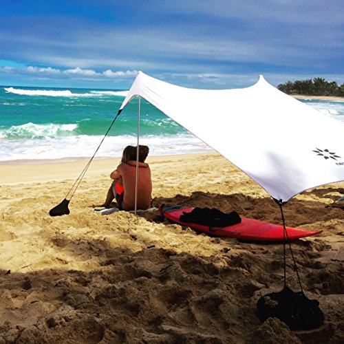 Neso Tents Beach Tent with Sand Anchor, Portable Canopy Sun Shelter, 7 x 7ft – Patented Reinforced Corners – White