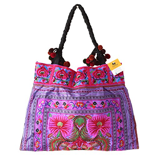 Changnoi Unique Hmong Hill Tribes Tote Bag Embroidered Fabric Large Size (Flower Purple)