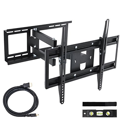 "30-65"" TV Wall Mount Bracket Tilt Swivel Articulating Full Motion for Universal LED LCD OLED Plasma QLED TFT Television Flat Curved Tvs Monitor Extendable Arm, VESA 400x400mm 99Lbs with HDMI Cable"