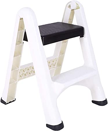 Taburete escalera ZLI Taburete Portátil con Escalera de 2 Peldaños, Espesar Escalera Plegable de Plástico Escalera de Espiga de Limpieza Familiar, Capacidad de hasta 120Kg (Color : White): Amazon.es: Hogar