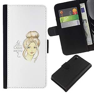 A-type (Art Design Woman Hair Portrait) Colorida Impresión Funda Cuero Monedero Caja Bolsa Cubierta Caja Piel Card Slots Para Sony Xperia Z3 D6603
