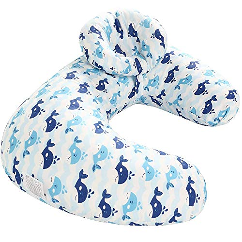 Miracle Baby Breastfeeding Nursing Pillow and Positioner,Machine Washable,U Shape Nursing and Infant Support Pillow Bonus Head Positioner(Blue Whale)