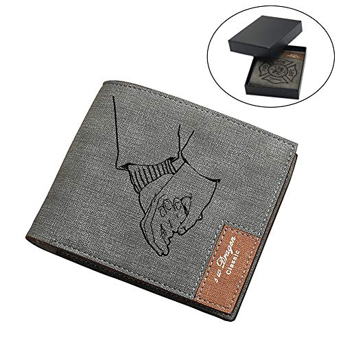 (Custom Wallets for Men Engraved Bifold Wallet, Custom Short Photo Wallet, Double Personalized Slim Checkbook Wallet Leather Purse Customized Gifts for Men)